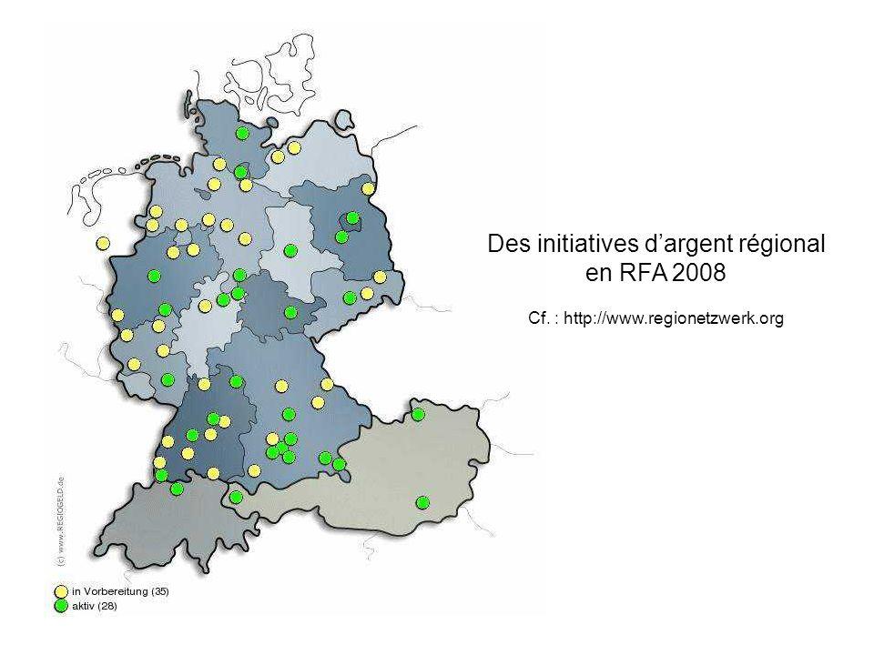 Des initiatives dargent régional en RFA 2008 Cf. : http://www.regionetzwerk.org
