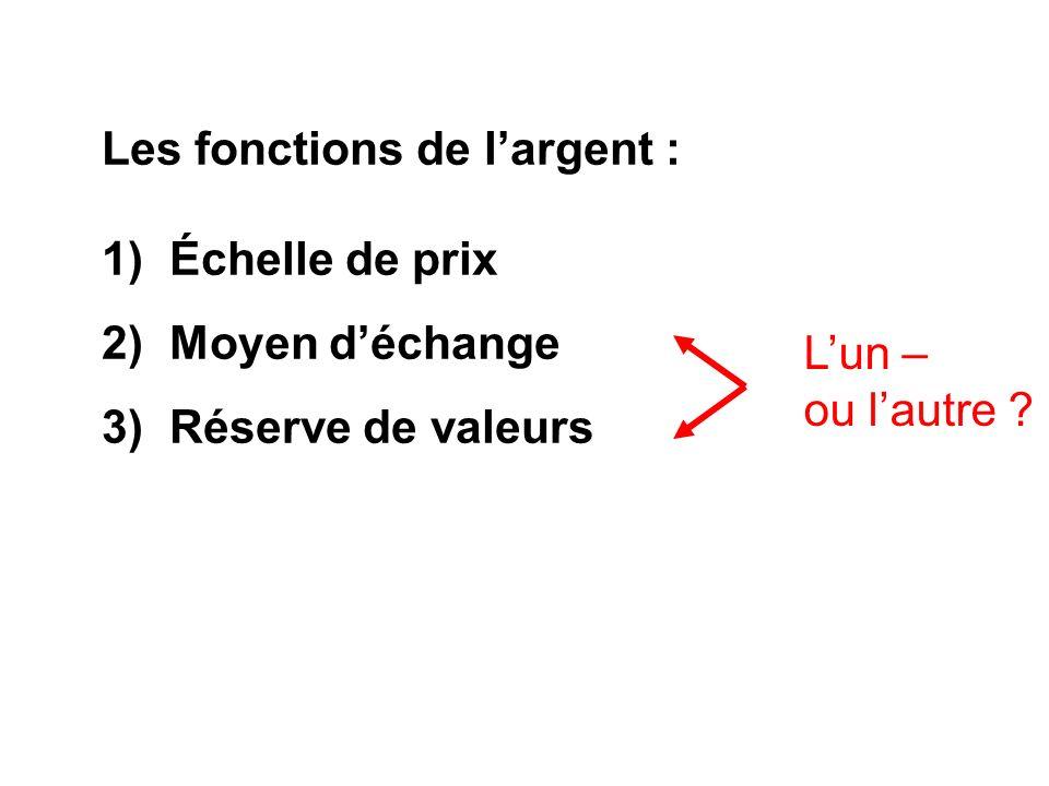Les fonctions de largent : 1) Échelle de prix 2) Moyen déchange 3) Réserve de valeurs Lun – ou lautre