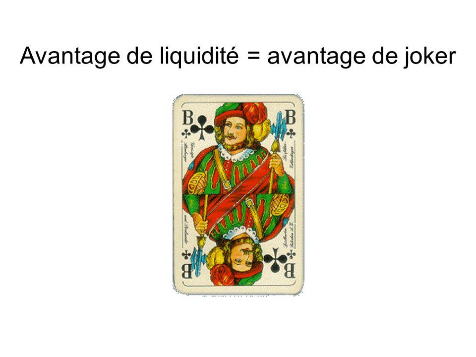 Avantage de liquidité = avantage de joker