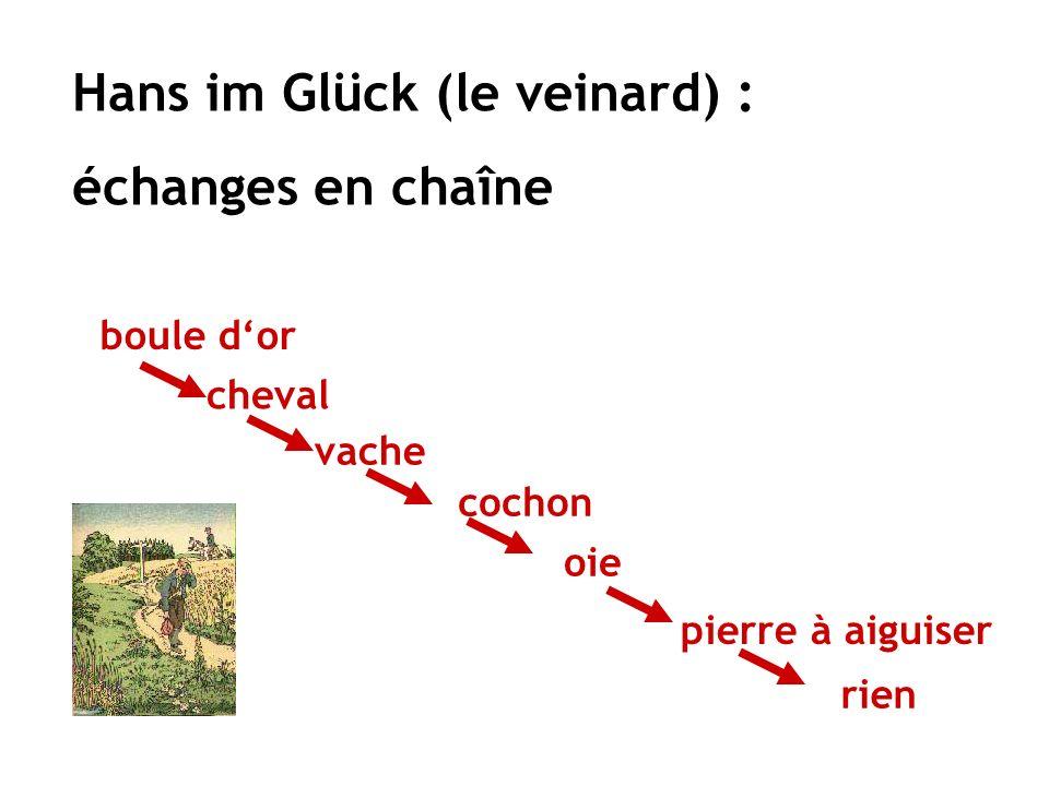 Hans im Glück (le veinard) : échanges en chaîne boule dor cheval vache cochon oie pierre à aiguiser rien