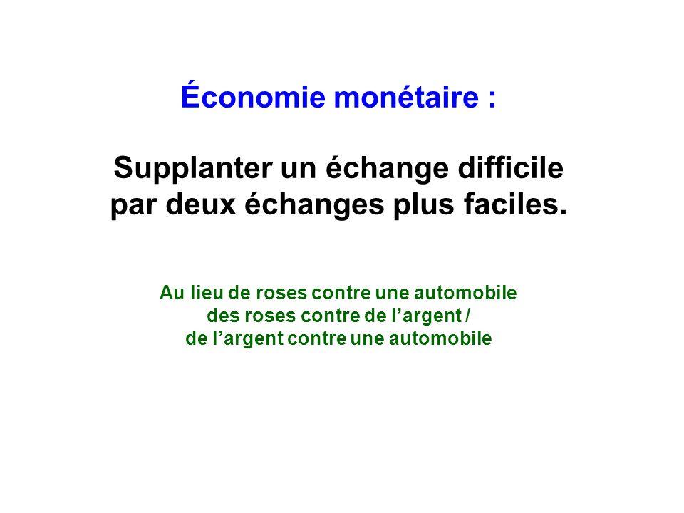 Économie monétaire : Supplanter un échange difficile par deux échanges plus faciles.