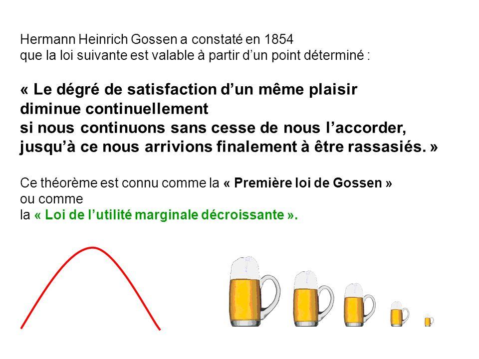 Hermann Heinrich Gossen a constaté en 1854 que la loi suivante est valable à partir dun point déterminé : « Le dégré de satisfaction dun même plaisir diminue continuellement si nous continuons sans cesse de nous laccorder, jusquà ce nous arrivions finalement à être rassasiés.