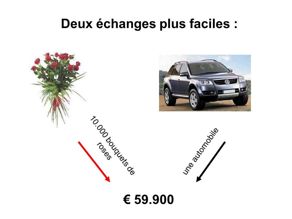 Deux échanges plus faciles : 10.000 bouquets de roses une automobile 59.900