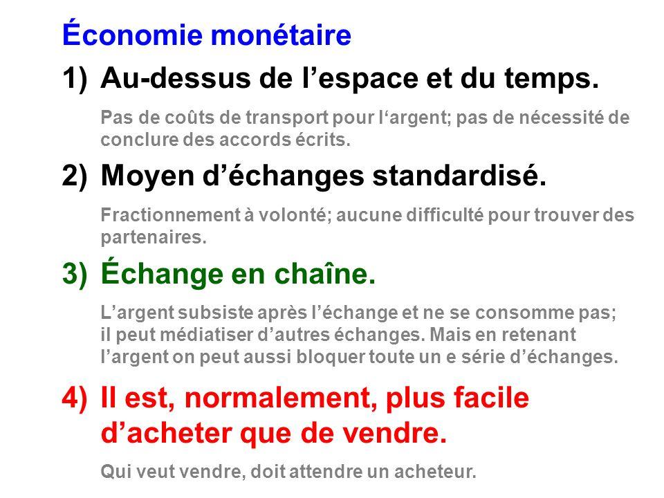 Économie monétaire 1)Au-dessus de lespace et du temps.