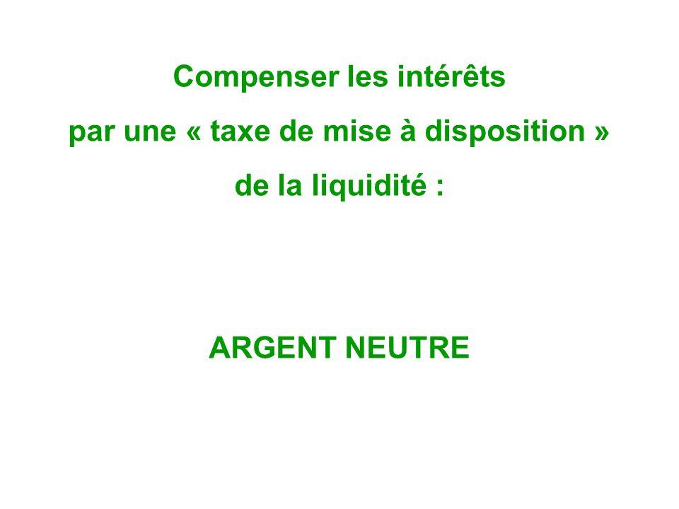 Compenser les intérêts par une « taxe de mise à disposition » de la liquidité : ARGENT NEUTRE