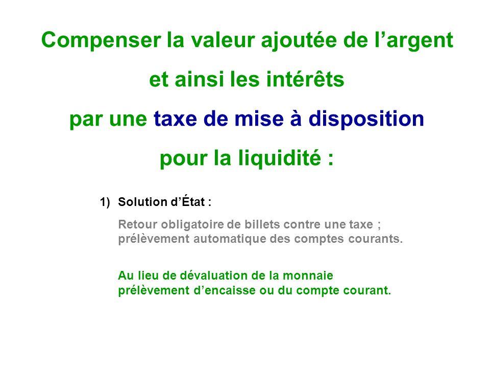 Compenser la valeur ajoutée de largent et ainsi les intérêts par une taxe de mise à disposition pour la liquidité : 1)Solution dÉtat : Retour obligatoire de billets contre une taxe ; prélèvement automatique des comptes courants.