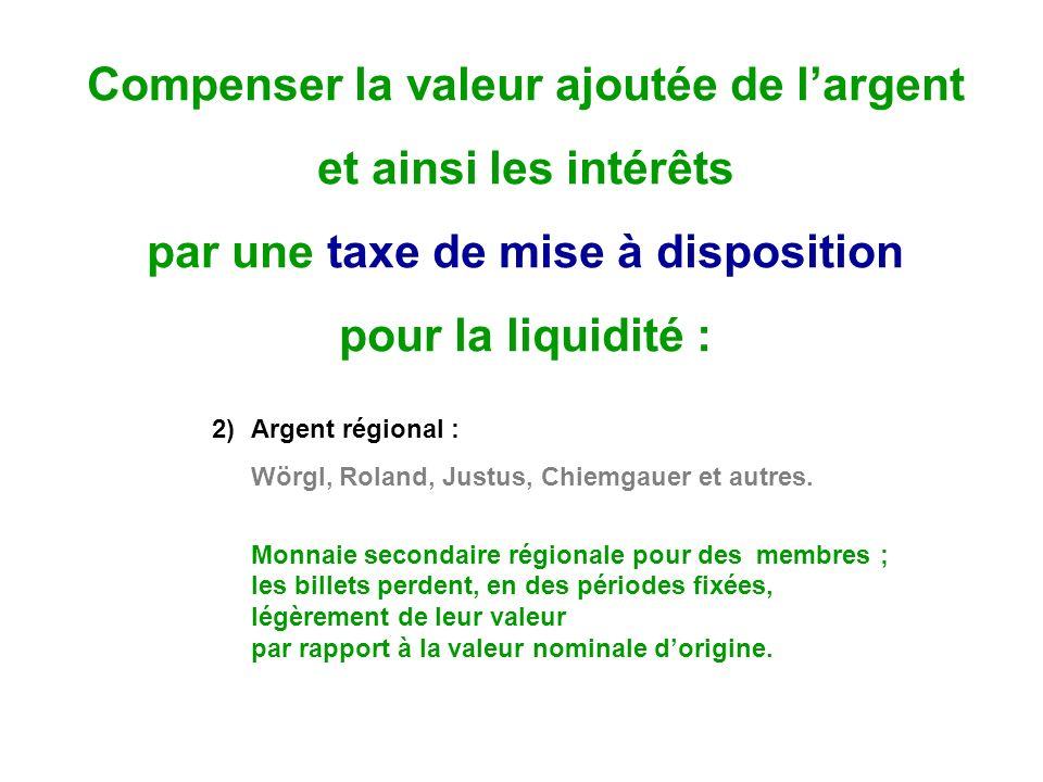 Compenser la valeur ajoutée de largent et ainsi les intérêts par une taxe de mise à disposition pour la liquidité : 2)Argent régional : Wörgl, Roland, Justus, Chiemgauer et autres.