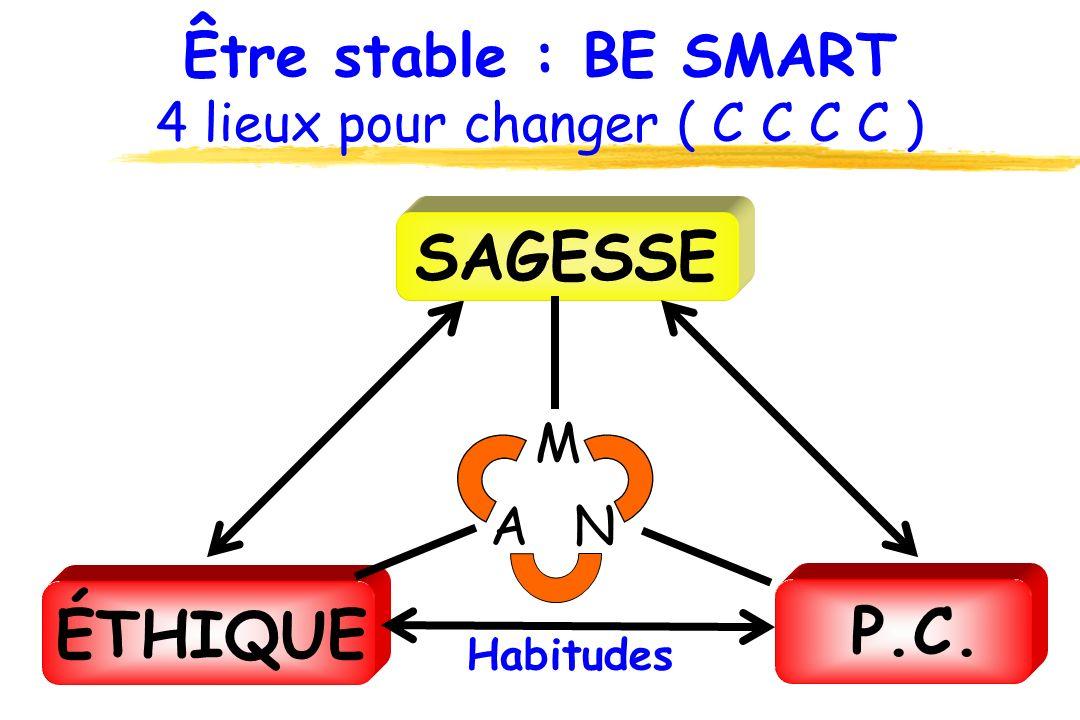 Être stable : BE SMART 4 lieux pour changer ( C C C C ) ÉTHIQUE SAGESSE P.C. Habitudes M NA