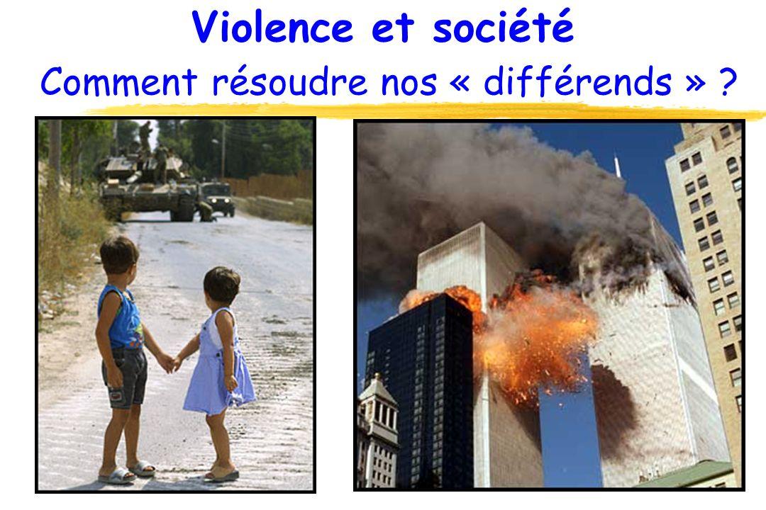 Violence et société Comment résoudre nos « différends » ? Moyen-Orient 2001 New York 2001