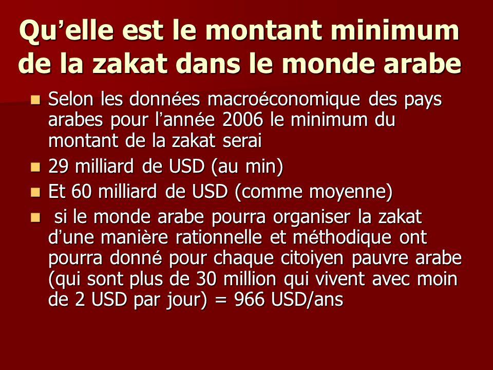 Qu elle est le montant minimum de la zakat dans le monde arabe Selon les donn é es macro é conomique des pays arabes pour l ann é e 2006 le minimum du