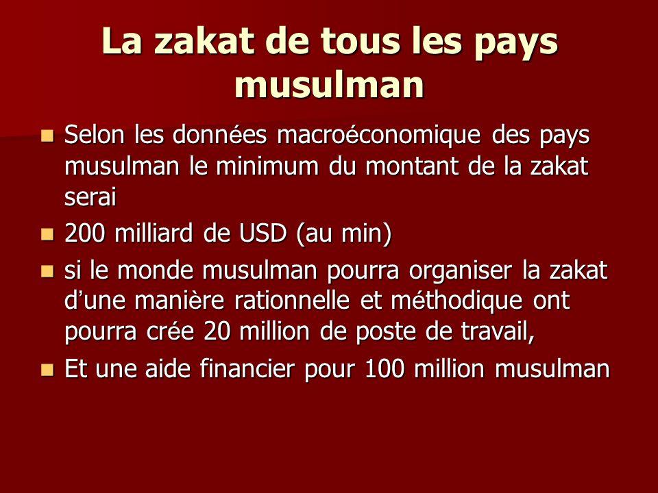 La zakat de tous les pays musulman Selon les donn é es macro é conomique des pays musulman le minimum du montant de la zakat serai Selon les donn é es
