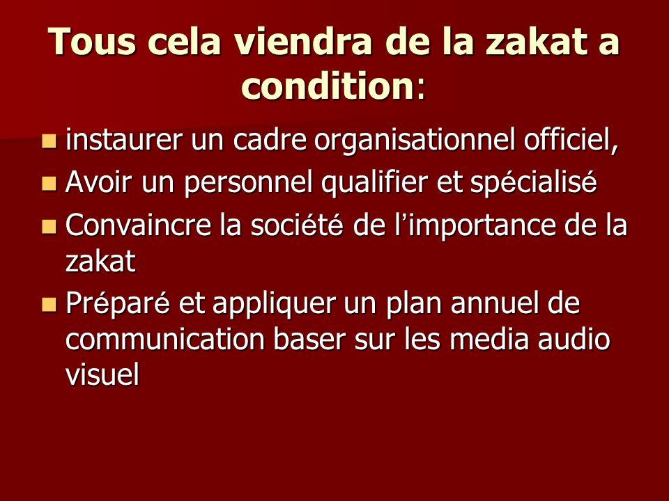 Tous cela viendra de la zakat a condition: instaurer un cadre organisationnel officiel, instaurer un cadre organisationnel officiel, Avoir un personne