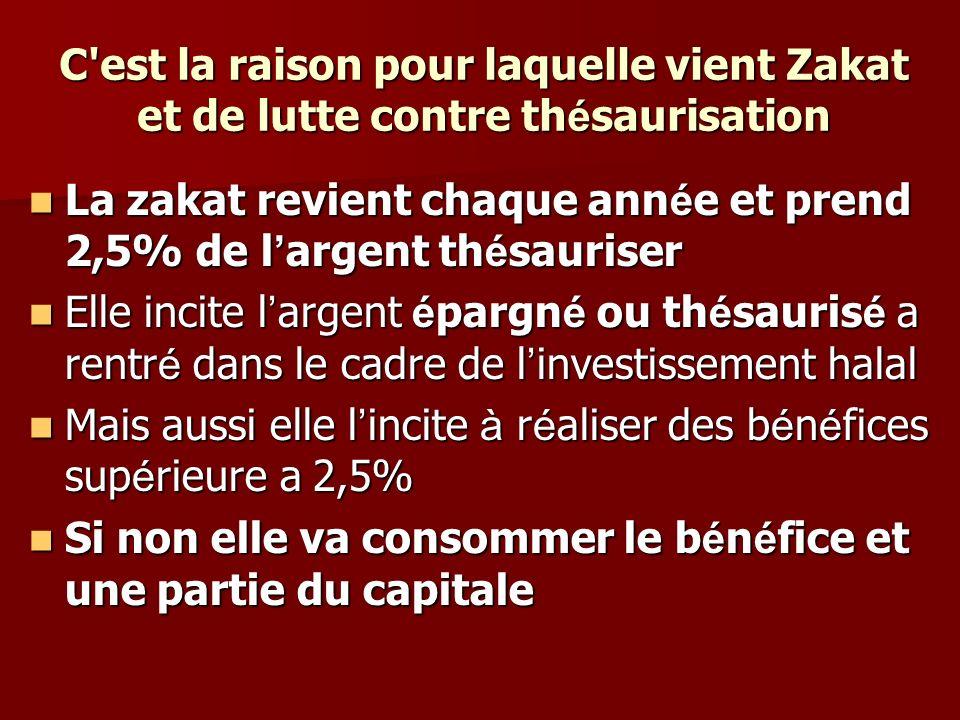 C'est la raison pour laquelle vient Zakat et de lutte contre th é saurisation La zakat revient chaque ann é e et prend 2,5% de l argent th é sauriser