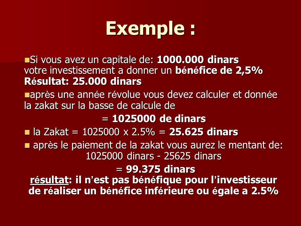 Exemple : Si vous avez un capitale de: 1000.000 dinars votre investissement a donner un b é n é fice de 2,5% R é sultat: 25.000 dinars Si vous avez un