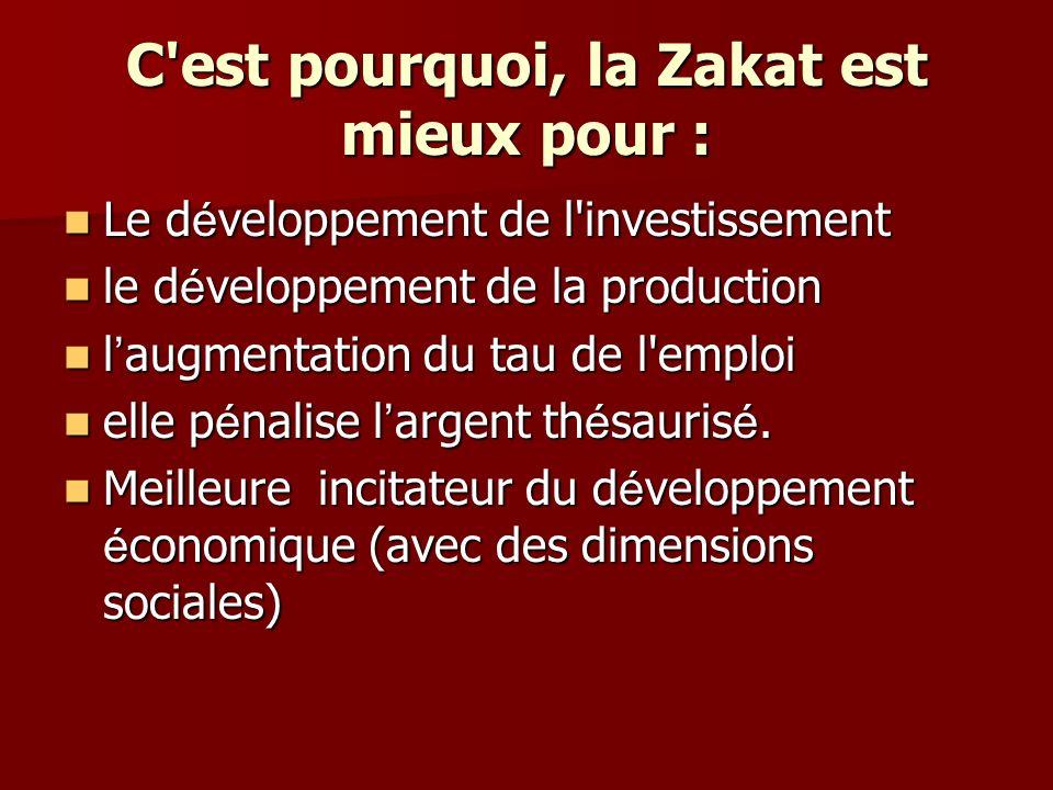 Le d é veloppement de l investissement Parce que l argent th é saurise est p é naliser par la zakat est elle le r é duit ann é e apr è s ann é e jusqu à ce qu il atteint le niveau minimum(nissab).