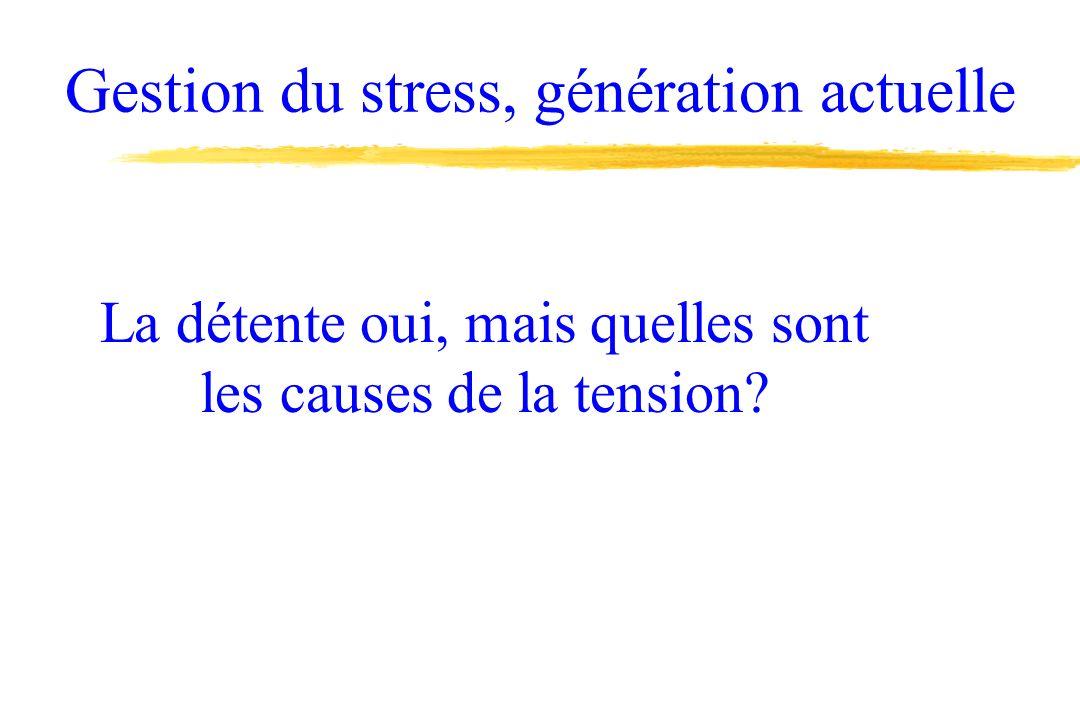 Gestion du stress, génération actuelle La détente oui, mais quelles sont les causes de la tension?