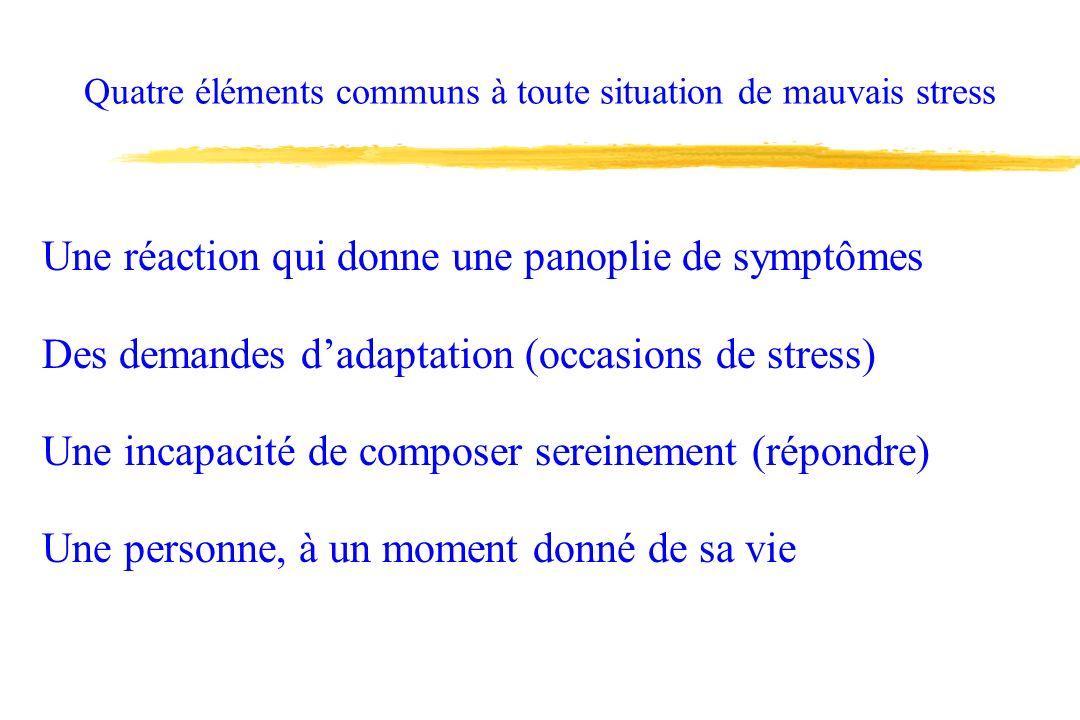 Quatre éléments communs à toute situation de mauvais stress Une réaction qui donne une panoplie de symptômes Des demandes dadaptation (occasions de stress) Une incapacité de composer sereinement (répondre) Une personne, à un moment donné de sa vie
