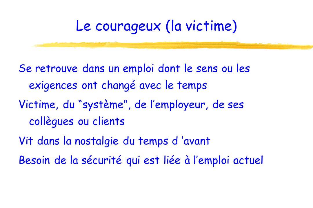 Le courageux (la victime) Se retrouve dans un emploi dont le sens ou les exigences ont changé avec le temps Victime, du système, de lemployeur, de ses collègues ou clients Vit dans la nostalgie du temps d avant Besoin de la sécurité qui est liée à lemploi actuel
