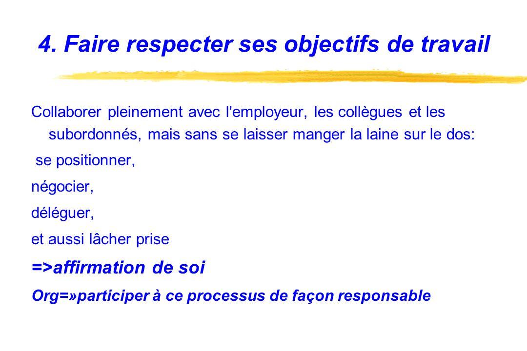 4. Faire respecter ses objectifs de travail Collaborer pleinement avec l'employeur, les collègues et les subordonnés, mais sans se laisser manger la l