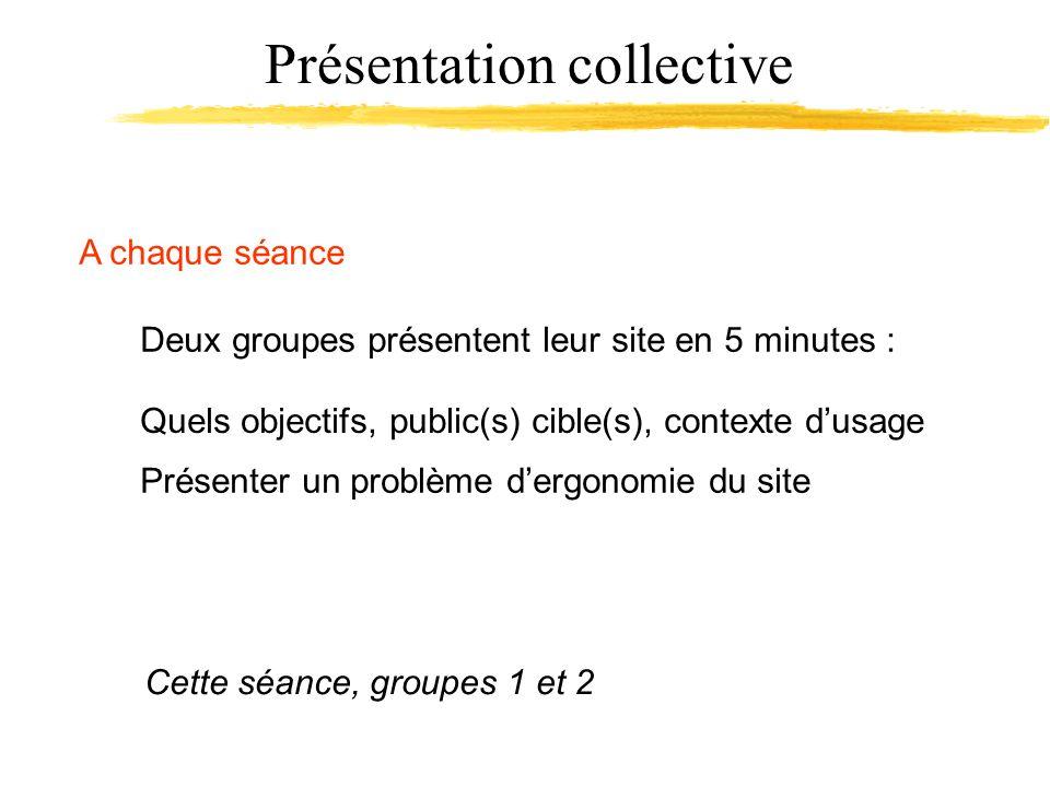 Présentation collective A chaque séance Deux groupes présentent leur site en 5 minutes : Cette séance, groupes 1 et 2 Présenter un problème dergonomie du site Quels objectifs, public(s) cible(s), contexte dusage