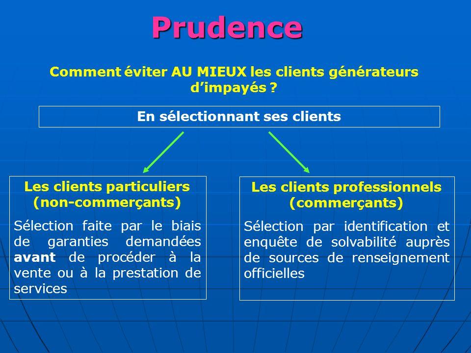 PREMIERE CONCLUSION La démarche préventive commence par un principe de PRUDENCE dans le choix de vos clients et dans les précautions destinées à vous garantir.