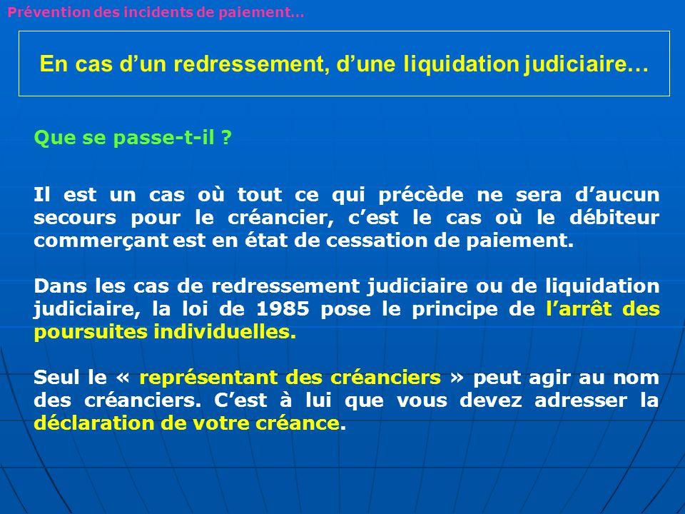 En cas dun redressement, dune liquidation judiciaire… Que se passe-t-il ? Il est un cas où tout ce qui précède ne sera daucun secours pour le créancie