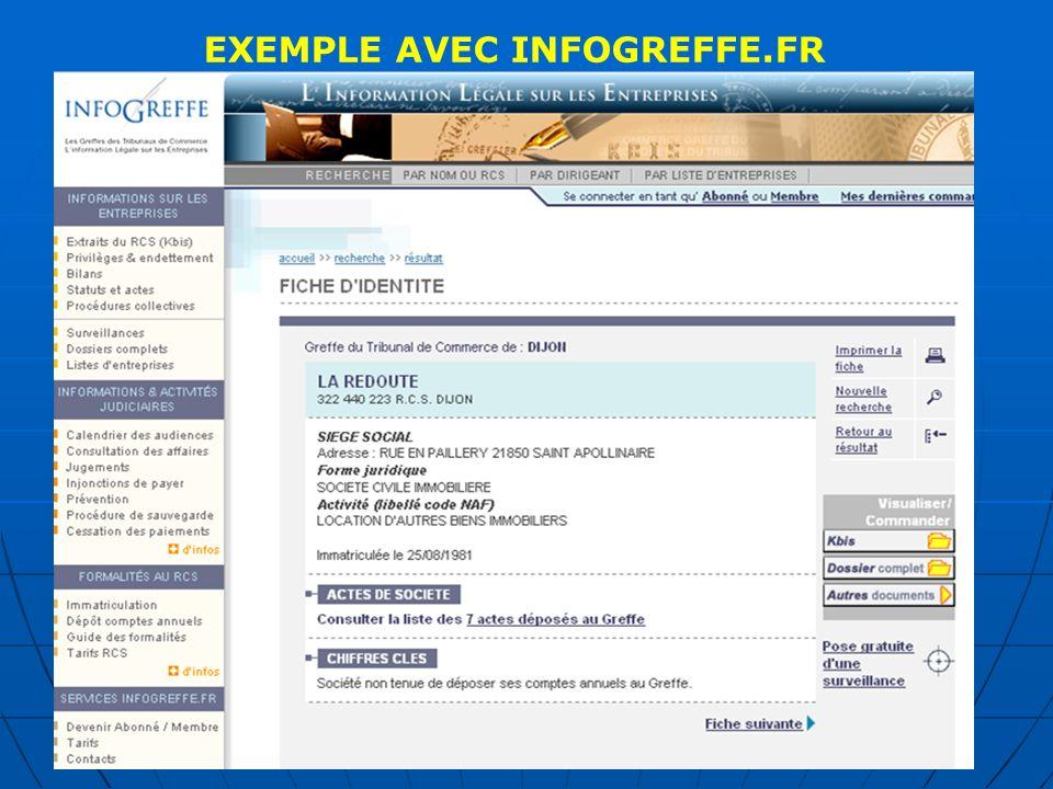 EXEMPLE AVEC SOCIETE.COM