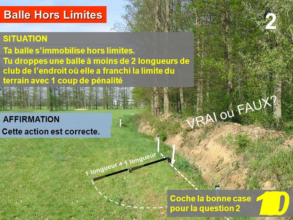 SITUATION Balle Hors Limites AFFIRMATION 1 longueur 2 + Coche la bonne case pour la question 2 109876543210 Tu droppes une balle à moins de 2 longueur