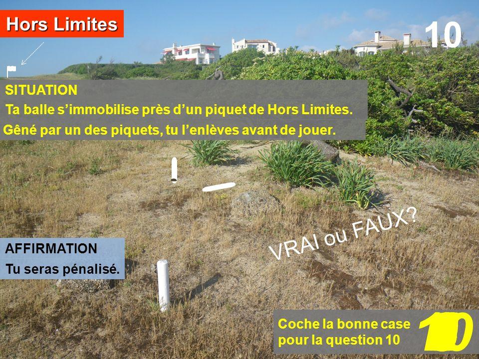 SITUATION Hors Limites AFFIRMATION 10 Coche la bonne case pour la question 10 109876543210 VRAI ou FAUX? Ta balle simmobilise près dun piquet de Hors