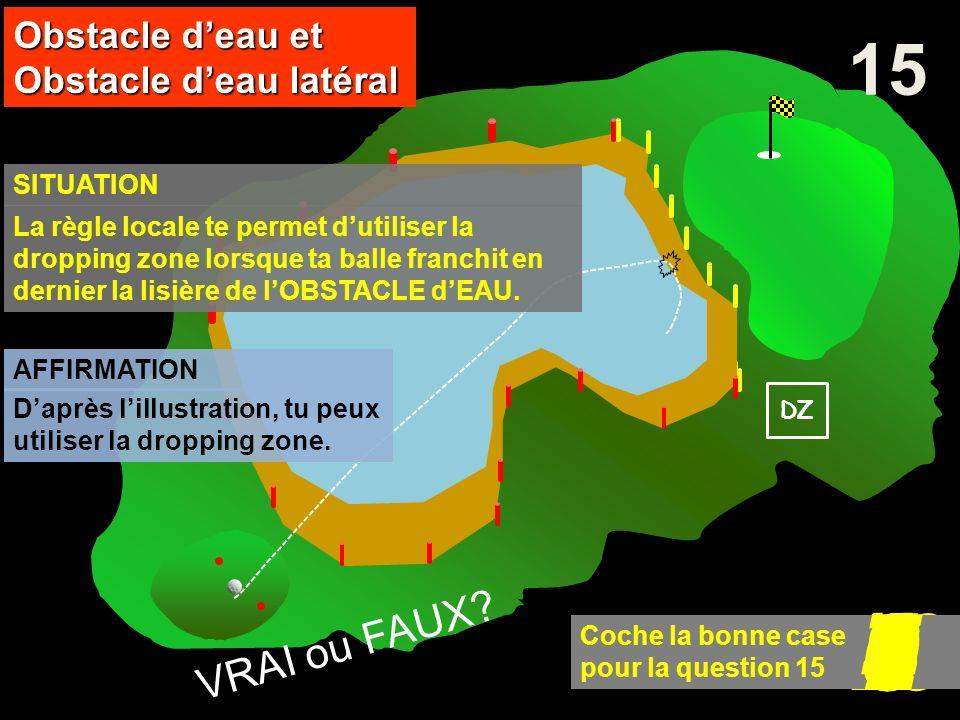 DZ AFFIRMATION 15 SITUATION Obstacle deau et Obstacle deau latéral 10 Coche la bonne case pour la question 15 9876543210 VRAI ou FAUX? La règle locale