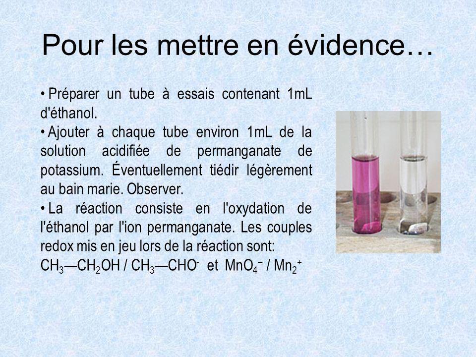 Pour les mettre en évidence… Préparer un tube à essais contenant 1mL d'éthanol. Ajouter à chaque tube environ 1mL de la solution acidifiée de permanga