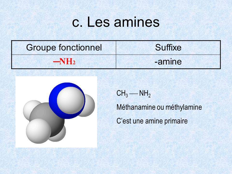 c. Les amines Groupe fonctionnelSuffixe -amine CH 3 NH 2 Méthanamine ou méthylamine Cest une amine primaire