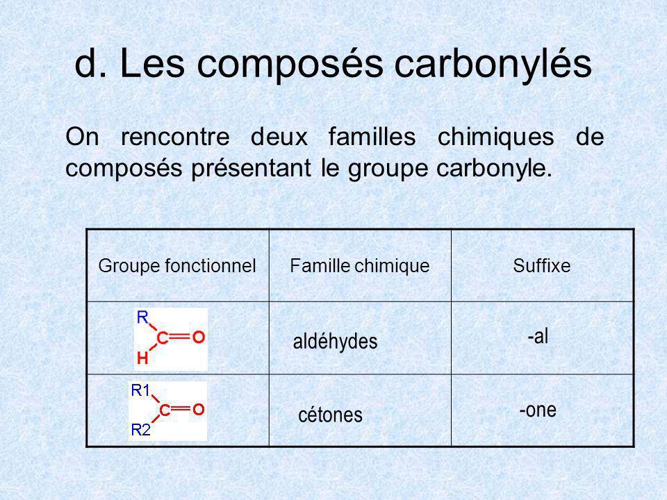 d. Les composés carbonylés On rencontre deux familles chimiques de composés présentant le groupe carbonyle. Groupe fonctionnelFamille chimiqueSuffixe