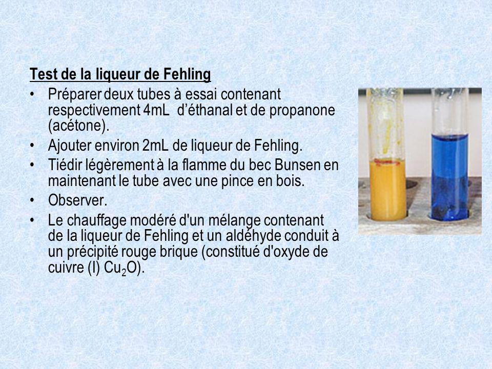 Test de la liqueur de Fehling Préparer deux tubes à essai contenant respectivement 4mL déthanal et de propanone (acétone). Ajouter environ 2mL de liqu