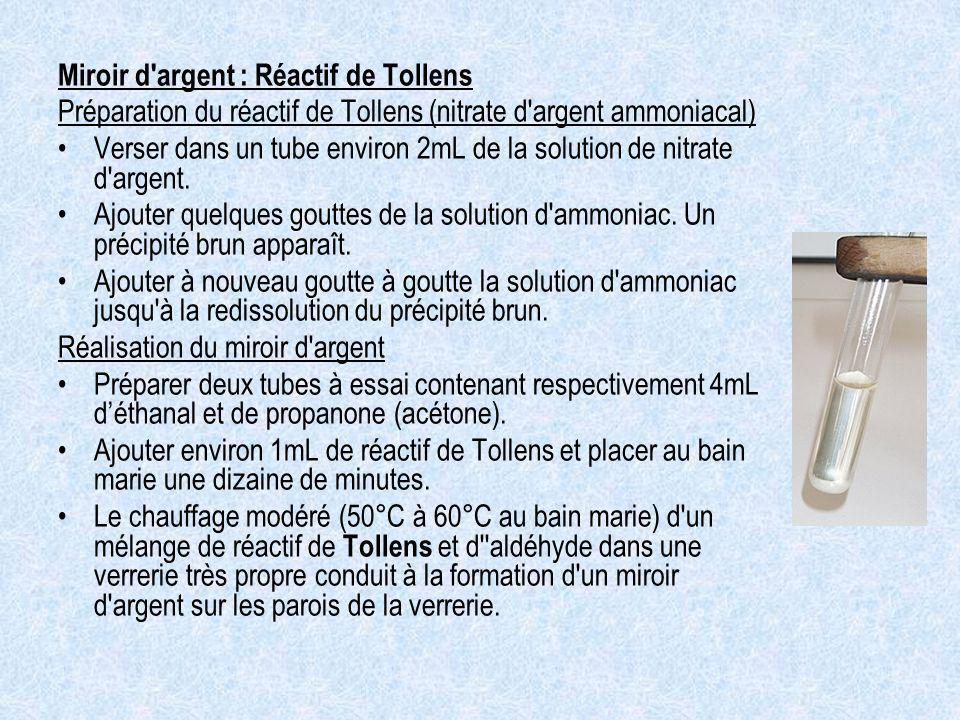 Miroir d argent : Réactif de Tollens Préparation du réactif de Tollens (nitrate d argent ammoniacal) Verser dans un tube environ 2mL de la solution de nitrate d argent.