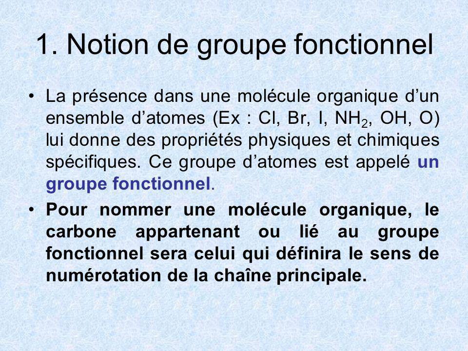 1. Notion de groupe fonctionnel La présence dans une molécule organique dun ensemble datomes (Ex : Cl, Br, I, NH 2, OH, O) lui donne des propriétés ph