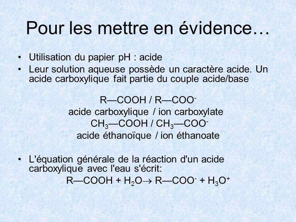 Pour les mettre en évidence… Utilisation du papier pH : acide Leur solution aqueuse possède un caractère acide. Un acide carboxylique fait partie du c