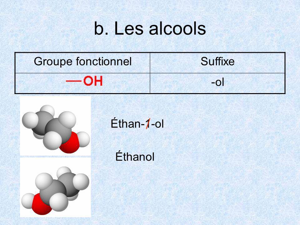 b. Les alcools Groupe fonctionnelSuffixe -ol Éthan-1-ol Éthanol