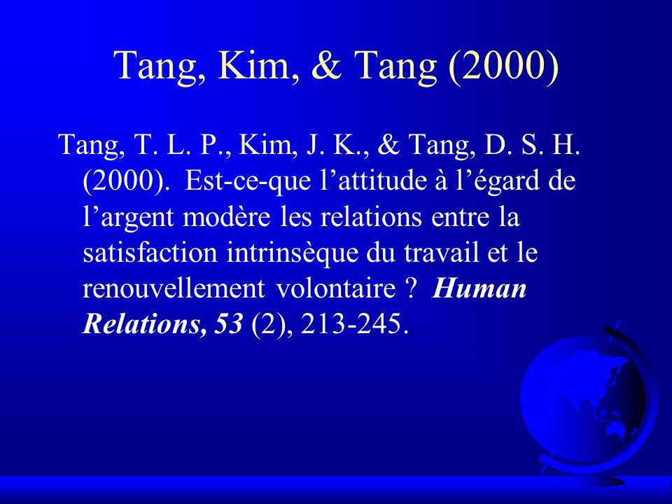 Tang, Kim, & Tang (2000) Tang, T. L. P., Kim, J. K., & Tang, D. S. H. (2000). Est-ce-que lattitude à légard de largent modère les relations entre la s