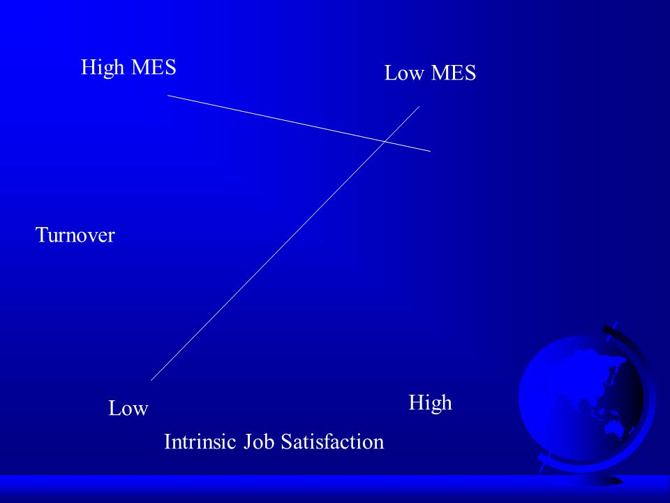 High MES Low MES Low High Intrinsic Job Satisfaction Turnover