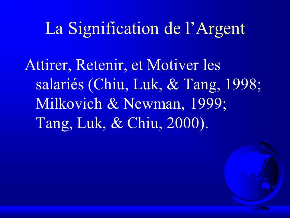 La Signification de lArgent Attirer, Retenir, et Motiver les salariés (Chiu, Luk, & Tang, 1998; Milkovich & Newman, 1999; Tang, Luk, & Chiu, 2000).