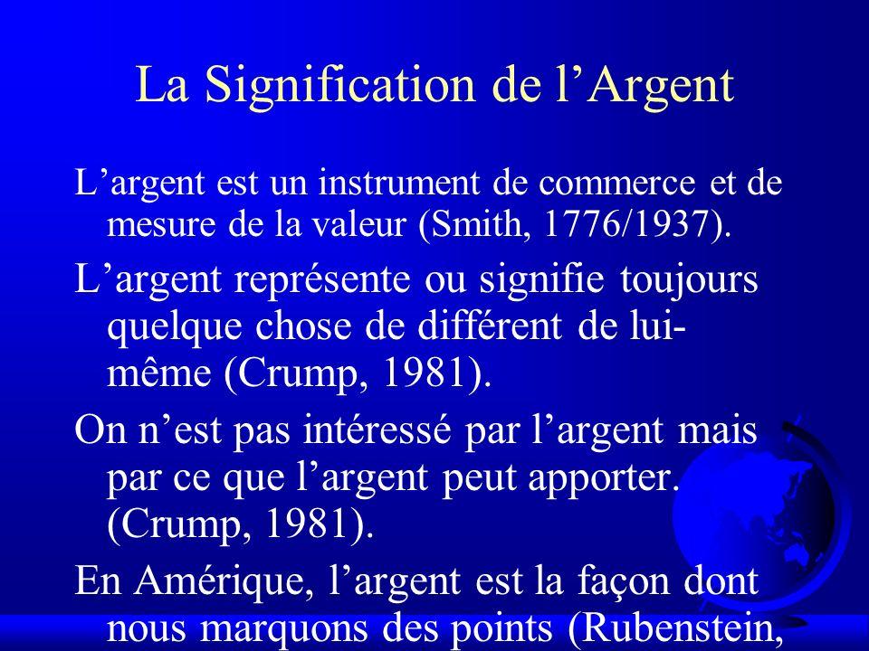 La Signification de lArgent Largent est un instrument de commerce et de mesure de la valeur (Smith, 1776/1937). Largent représente ou signifie toujour