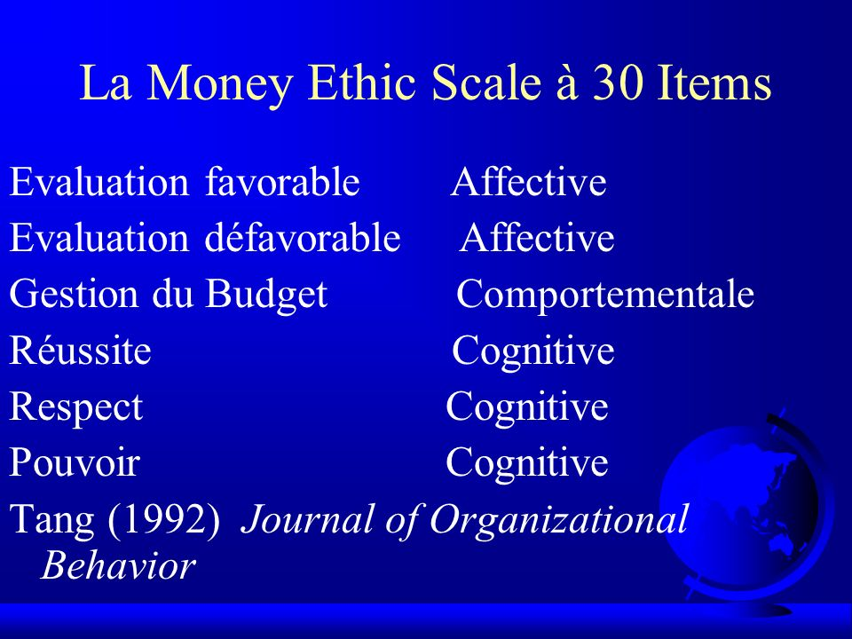 La Money Ethic Scale à 30 Items Evaluation favorable Affective Evaluation défavorable Affective Gestion du Budget Comportementale Réussite Cognitive R