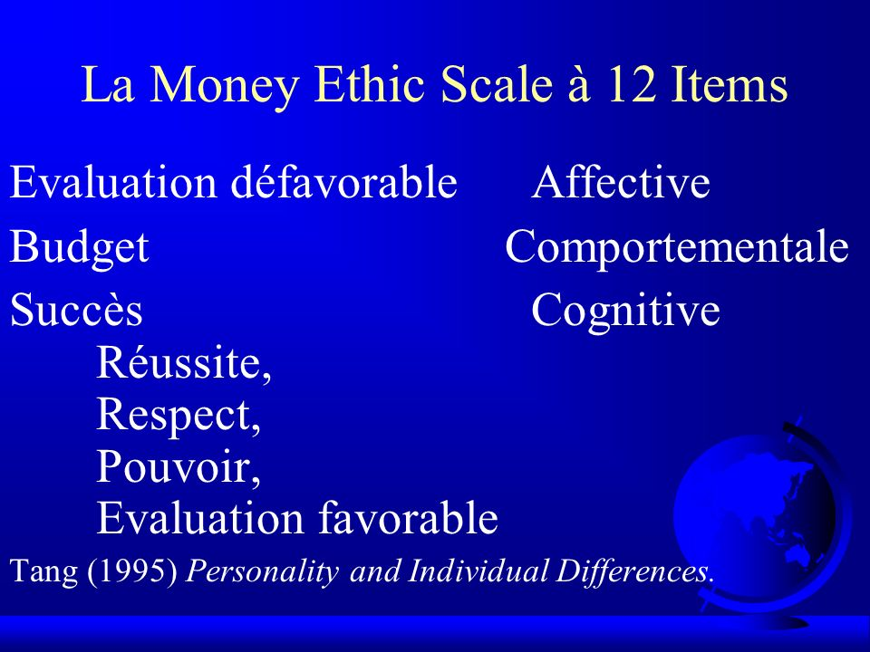 La Money Ethic Scale à 12 Items Evaluation défavorableAffective Budget Comportementale SuccèsCognitive Réussite, Respect, Pouvoir, Evaluation favorabl