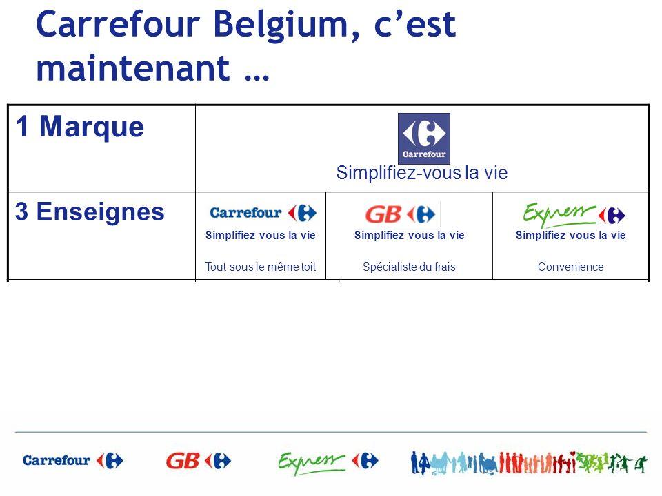 Carrefour Belgium, cest maintenant … 1 Marque Simplifiez-vous la vie 3 Enseignes Simplifiez vous la vie Tout sous le même toit Simplifiez vous la vie