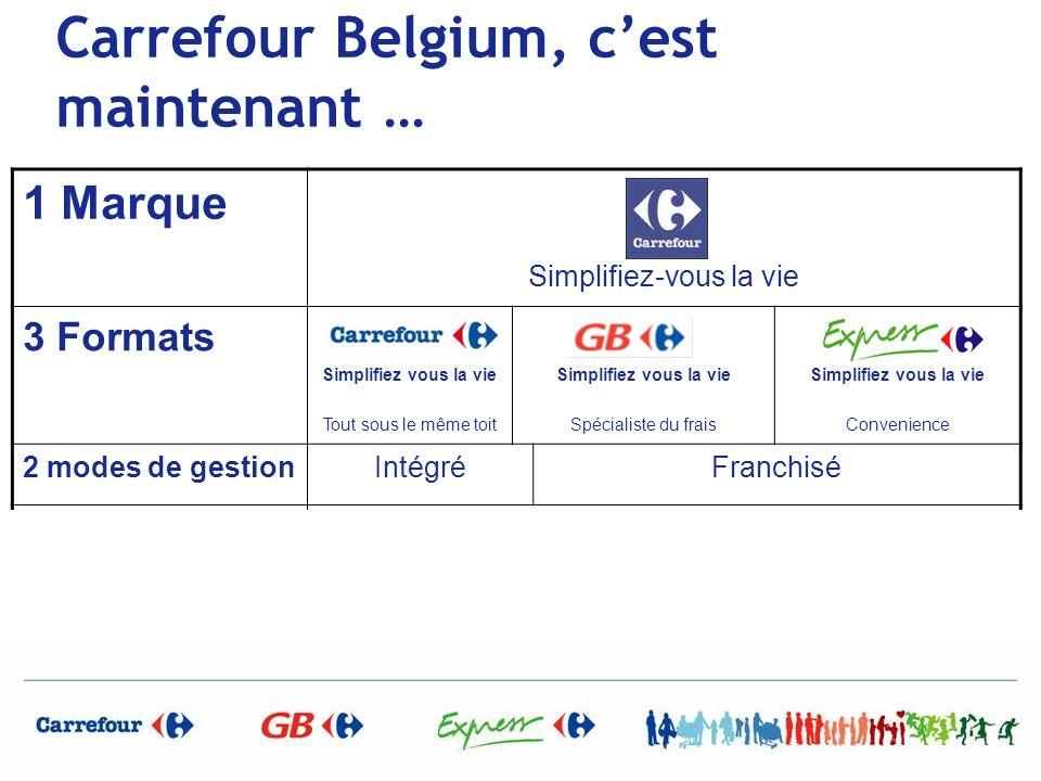 Carrefour Belgium, cest maintenant … 1 Marque Simplifiez-vous la vie 3 Formats Simplifiez vous la vie Tout sous le même toit Simplifiez vous la vie Sp