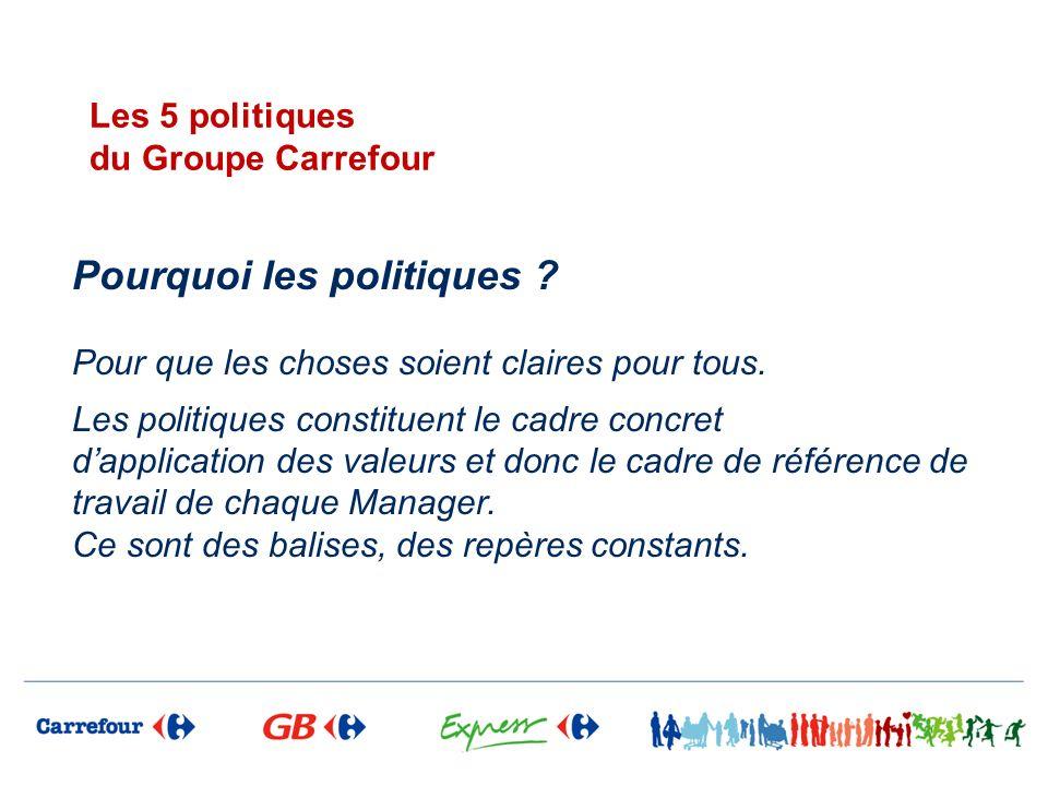 Les 5 politiques du Groupe Carrefour Pourquoi les politiques ? Pour que les choses soient claires pour tous. Les politiques constituent le cadre concr