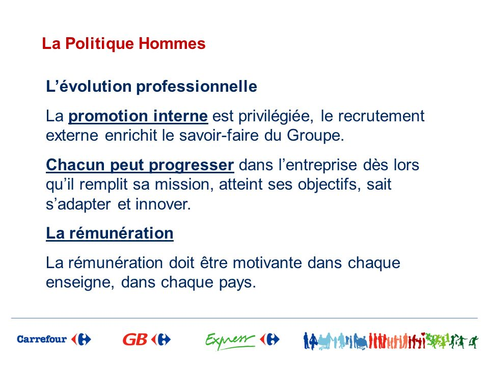 La Politique Hommes Lévolution professionnelle La promotion interne est privilégiée, le recrutement externe enrichit le savoir-faire du Groupe. Chacun