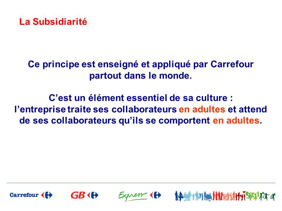 Ce principe est enseigné et appliqué par Carrefour partout dans le monde. Cest un élément essentiel de sa culture : lentreprise traite ses collaborate