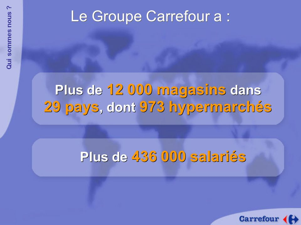 Le Groupe Carrefour a : Plus de 12 000 magasins dans 29 pays, dont 973 hypermarchés Qui sommes nous ? Plus de 436 000 salariés